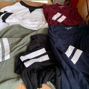 5 brand new without tags Hollister long sleeves